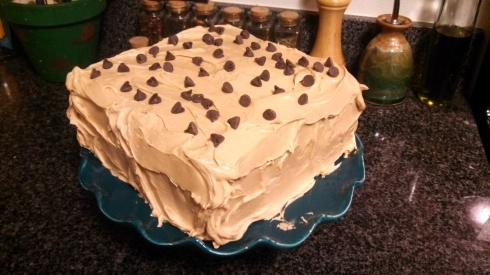Banana Chocolate Chip Cake w Peanut Butter Frosting