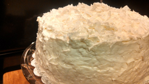 Coconut Cake w Cream Cheese Coconut Frosting
